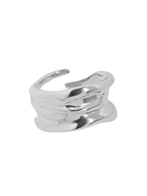 Jb096 [platinum] 925 Sterling Silver Irregular Vintage Band Ring
